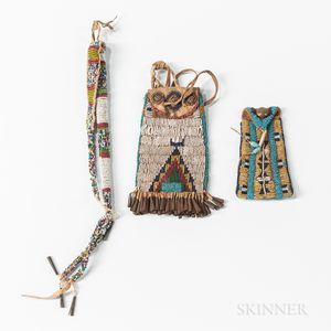 Two Plains Beaded Pouches and Ute Beaded Awl Case