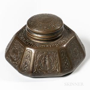 Large Tiffany Studios Bronze Zodiac Inkwell