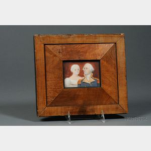 American School, Late 18th Century      Portrait Miniature of George and Martha Washington.