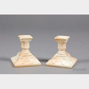 Pair of Royal Worcester Porcelain Candlesticks