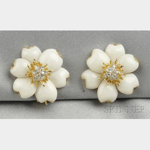 18kt Gold, White Coral, and Diamond Earclips