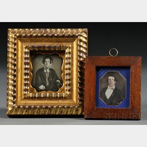 Two Framed Sixth Plate Daguerreotype Portraits of a Young Man and Woman