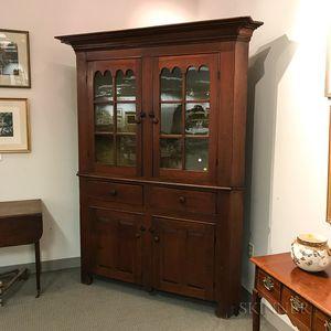 Glazed Cherry and Pine Corner Cupboard