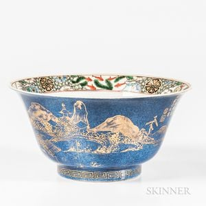 Gilt/Powder Blue-glazed Bowl