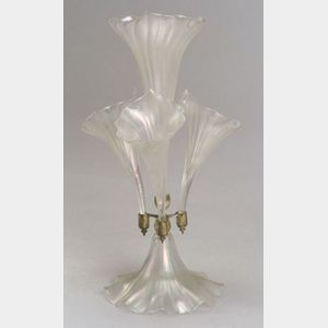 Silver Plate and Iridescent Glass Epergne