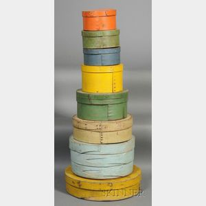 Stack of Eight Round Painted Pantry Boxes
