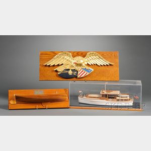 Carved Eagle, Wooden Yacht, and Half Hull Models
