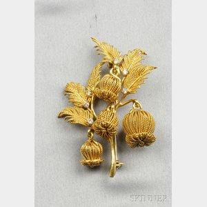 18kt Gold and Diamond Flower Brooch, Tiffany & Co.