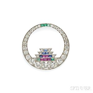 Art Deco Platinum and Diamond Gem-set Brooch, Cartier