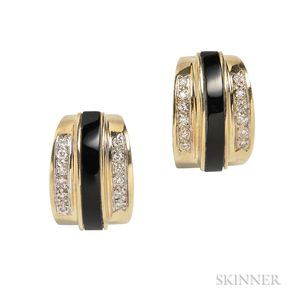 14kt Gold, Onyx, and Diamond Earrings