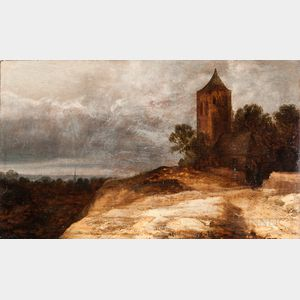 Dutch School, 17th Century Style      Landscape with Hilltop Tower and Two Figures Under a Gray Sky
