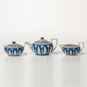 Three-piece Wedgwood Dark Blue Jasper Dip Tea Set