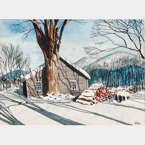 Walton Blodgett (American, 1908-1963)      Winter Cabin