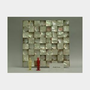 Chinese Carved Ivory and Mother-of-Pearl Chess Set.