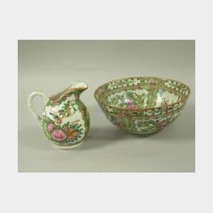 Chinese Export Porcelain Rose Medallion Pattern Bowl and Creamer. .