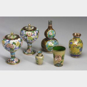 Six Pieces of Chinese Cloisonne and Four Pieces of Japanese and Chinese Metalwork