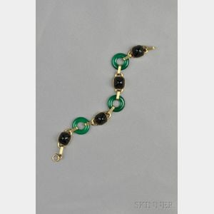 Art Deco 14kt Gold, Onyx, and Dyed Green Chalcedony Bracelet