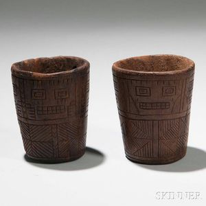 Two Inca Carved Wood Keros