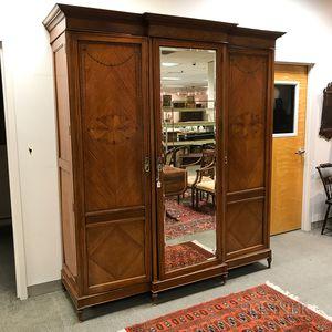 Adam's-style Inlaid Satinwood Veneer Mirrored Armoire