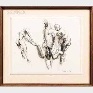 Herbert Lewis Fink (American, 1921-2006)      Sketch with Figures