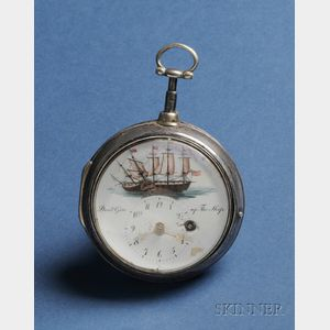 """Don't Give Up the Ship"" Naval Battle Enamel Decorated Silver Pocket Watch"