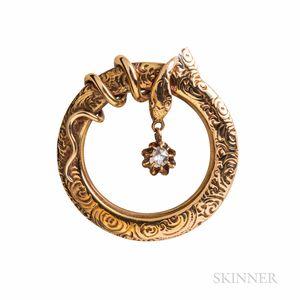 14kt Gold and Diamond Snake Brooch