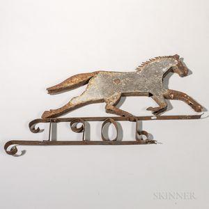 Tin and Wrought Iron Running Horse Weathervane