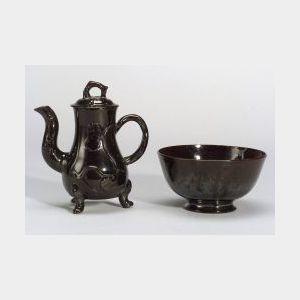 Two Staffordshire Black Glazed Earthenware Items