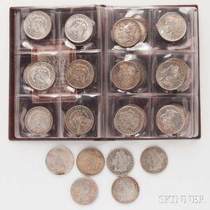 Forty Circulated Morgan and Peace Dollars.