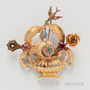 18kt Gold Stickpin Brooch