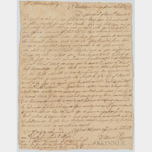 William Pepperrell Letter Regarding Ability to Sail a Ship
