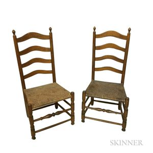 Pair of Country Turned Maple Ladder-back Side Chairs