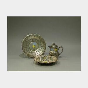 Sterling Silver Tray and Bowl and a Silver Plated Coffeepot.