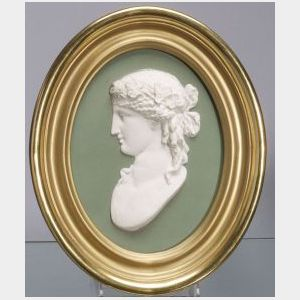 Wedgwood Green Jasper Dip Portrait Plaque of Ariadne
