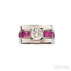 Retro White Gold, Diamond, and Synthetic Ruby Ring