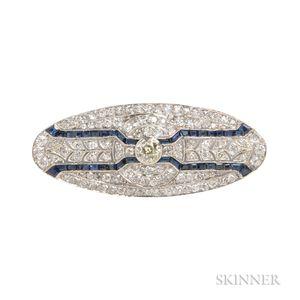 Art Deco Platinum, Diamond, and Sapphire Brooch