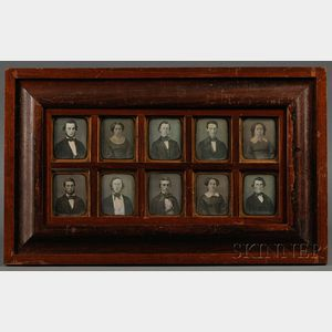 Framed Family Group of Ten Sixth Plate Daguerreotypes