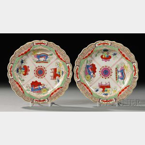 Pair of Worcester Porcelain Dragon in Compartments   Pattern Plates