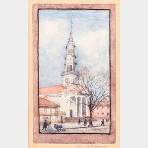 Anna M. Goodwin (American, 20th Century) Colonial Church