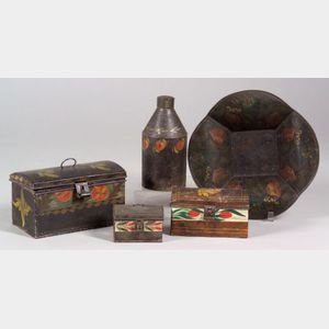 Five Paint Decorated Tinware Items