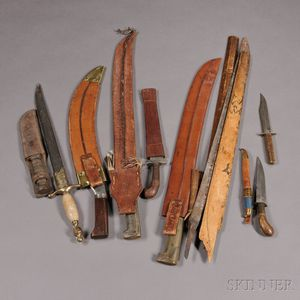 Group of Three Machetes, Six Knives, and a Blade