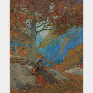 American School, 20th Century      Autumn Landscape with a Woman Seated Under an Oak
