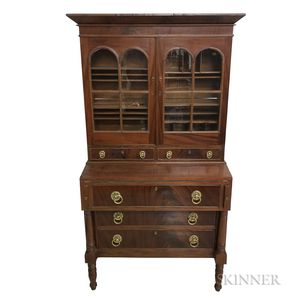 Federal Glazed Mahogany and Mahogany Veneer Secretary/Bookcase