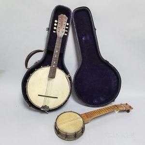 Ditson Victory Banjo Mandolin and a Banjo Ukulele.