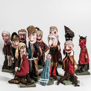 Group of Twelve Punch and Judy Carved and Painted Puppets