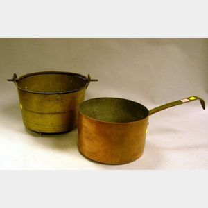 Brass Handled Copper Pot and a Wrought Iron and Brass Kettle.