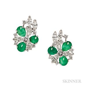 Platinum, Emerald, and Diamond Earclips