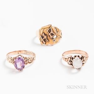 Three Antique Gold Gem-set Rings
