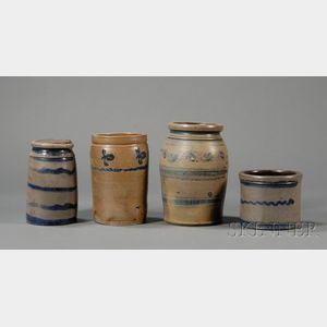 Three Small Cobalt-decorated Stoneware Jars and a Small Crock