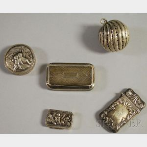 Five Small Silver Boxes and Tea Items
